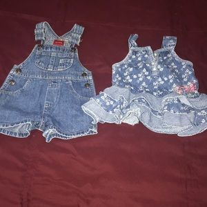 Blue jean all one shorts, flare out jean dress